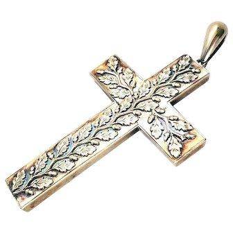 Huge Victorian Gold Gilt Ivy Leaf Cross Pendant