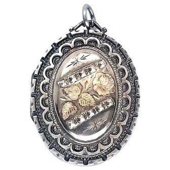 Sweet Victorian Floral Tri-Color Gold and Silver Aesthetic Locket 1876