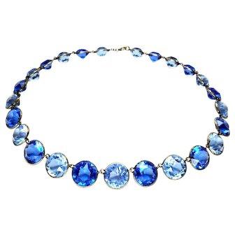 Stunning Bi-Color Blue Crystal Silver Art Deco Necklace