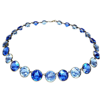 Stunning Bi-Color Blue Crystal Silver Art Deco Necklace