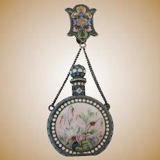 Antique Russian 84 silver en plein enamel perfume bottle by Ivan Saltykov