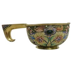 Antique Russian silver 84 cloisonne shaded and jeweled enamel kovsh by Feodor Ruckert