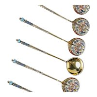 A set of 6 antique Russian silver 88 cloisonne shaded enamel spoons by Feodor Ruckert