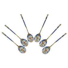 A set of 6 antique Russian silver 84 cloisonne shaded enamel large spoons by Feodor Ruckert