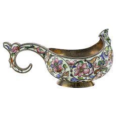 Antique Russian silver 88 cloisonne shaded enamel kovsh by Feodor Ruckert