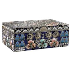 Antique Russian Faberge silver cloisonne shaded enamel box by Feodor Ruckert, circa 1908-1917