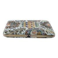 Antique Russian silver cloisonne shaded enamel cigarette case by Feodor Ruckert, circa 1908-1917