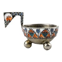 Antique Russian Faberge silver cloisonne enamel kovsh by Feodor Ruckert, circa 1908-1917