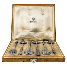 Set of 6 antique Russian Faberge silver cloisonne enamel spoons in original box, circa 1908-1917