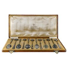 Set of 12 antique Russian Faberge silver cloisonne enamel spoons in original box by Feodor Ruckert, circa 1908-1917