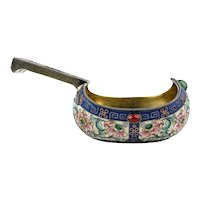 Antique Russian silver cloisonne shaded enamel kovsh by Feodor Ruckert, circa 1900