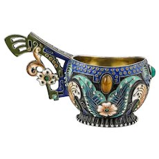 Antique Russian silver cloisonne enamel and jeweled kovsh by Feodor Ruckert, circa 1908-1917