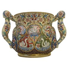 Antique Russian silver 875 cloisonne shaded enamel 3-handled love cup by Feodor Ruckert