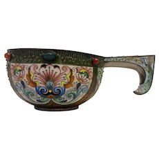 Antique Russian silver 88 cloisonne shaded enamel and jeweled kovsh by Feodor Ruckert.