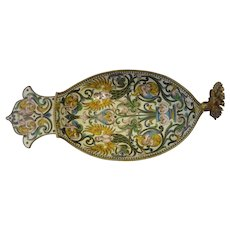 Antique Russian silver 84 cloisonne shaded enamel kovsh.