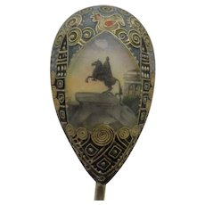 Antique Russian silver 88 cloisonne and pictorial enamel spoon by Faberge, workmaster Feodor Ruckert.