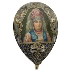 Antique Russian silver 88 cloisonne shaded and pictorial enamel spoon by Feodor Ruckert.