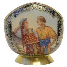 Antique Russian silver 88 cloisonne and pictorial enamel kovsh by Feodor Ruckert