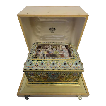 Antique Russian silver 84 cloisonne shaded pictorial en plein enamel and jeweled casket by Ivan Khlebnikov in original box
