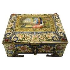Antique Russian silver 84 cloisonne pictorial en plein enamel and jeweled casket by Feodor Ruckert.