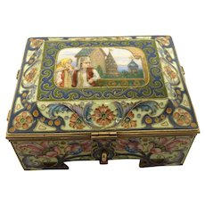 Antique Russian silver 88 cloisonne and pictorial en plein enamel casket by Feodor Ruckert