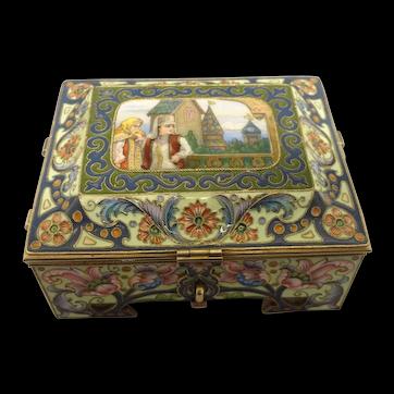 Antique Russian silver 88 cloisonne and pictorial en plein enamel casket by Feodor Ruckert