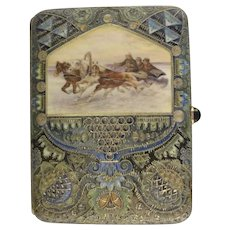 Antique Russian silver 88 cloisonne and pictorial en plein enamel cigarette case by Faberge, workmaster Feodor Ruckert.