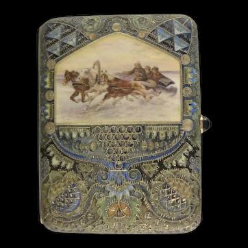 Antique Russian silver 88 cloisonne and pictorial en plein enamel cigarette case by Faberge, workmaster Feodor Ruckert.