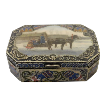 Antique Russian silver 84 cloisonne and pictorial en plein enamel box by Faberge, workmaster Feodor Ruckert.