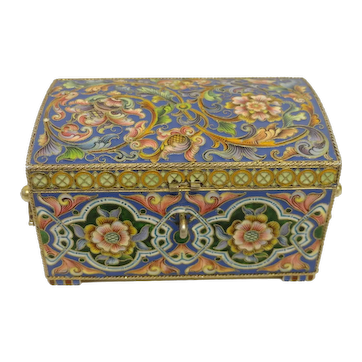 Antique Russian silver 88 cloisonne shaded enamel box by Feodor Ruckert