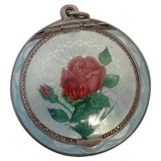 Faberge antique russian silver 84 guilloche enplein enamel compact by Anna Ringe
