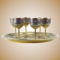Antique Russian silver 91 champleve enamel vodka set with tray by Pavel Ovchinnikov, circa 1874.