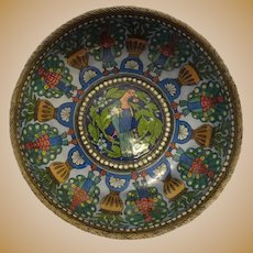 Antique Russian silver 88 cloisonne and en plein enamel footed bowl with birds by Pavel Ovchinnikov