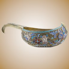 Antique Russian silver 84 cloisonne shaded enamel large and heavy kovsh by Gustav Klingert.