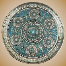 A large antique Russian silver 84 champleve enamel dish by Pavel Ovchinnikov, circa 1881.