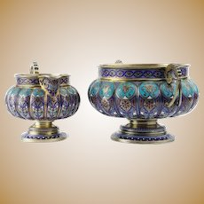 Antique Russian silver champleve enamel creamer and saucer by Antip Kuzmichev.