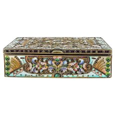 Antique Russian silver 84 cloisonne shaded enamel box by Gregory Sbitnev.