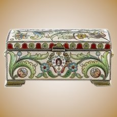 Antique Russian silver 84 cloisonne shaded enamel small casket by Pavel Ovchinnikov