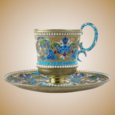 Antique Russian silver 84 cloisonne shaded enamel cup & saucer by Vasili Agafanov.