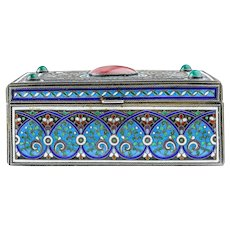 Antique Russian silver 84 cloisonne enamel large and heavy table cigar box.