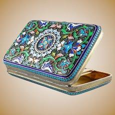 Antique Russian silver 84 cloisonne enamel cigarette case by Ivan Khlebnikov