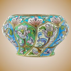 Antique Russian silver 88 cloisonne shaded enamel bowl by 6th Artel