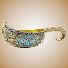 Antique Russian silver kovsh by Gustav Klingert