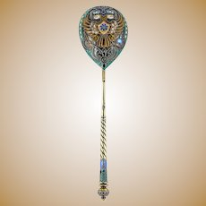 Antique Russian Faberge silver cloisonne enamel large spoon with eagle on the bowl