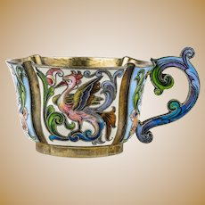 Antique Russian silver 88 cloisonne shaded enamel cup by Feodor Ruckert.