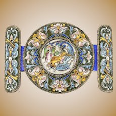 Antique Russian silver cloisonne shaded enamel belt buckle by Feodor Ruckert, circa 1900