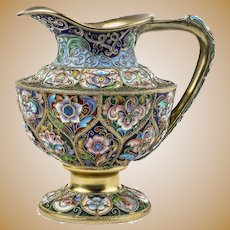 Russian gilded silver and shaded enamel creamer, Feodor Ruckert, Moscow, circa 1900.
