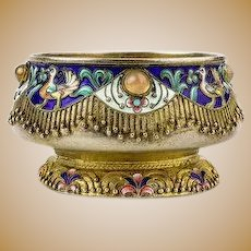 Antique Russian silver 88 cloisonne shaded enamel bowl by Feodor Ruckert.