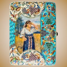 Antique Russian silver 875 cloisonne shaded and pictorial enamel cigarette case.