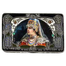 Antique Russian silver 88 cloisonne and pictorial enamel box by Feodor Ruckert